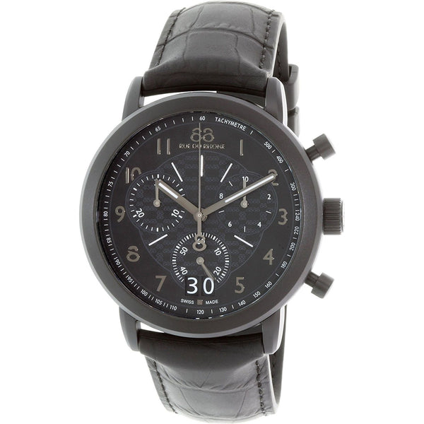 88 Rue du Rhone Men's 87WA144502 'Double 8 Origin' Chronograph Black Leather Watch