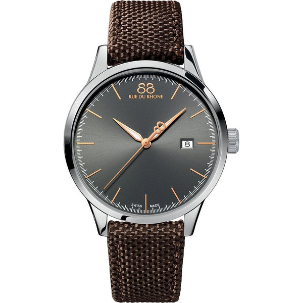 88 Rue du Rhone Men's 87WA154109 'Rive' Brown Nylon and Leather Watch