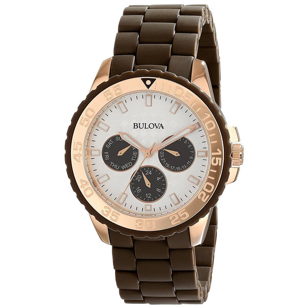 Bulova Women's 98N103 Multi-Function Brown Stainless steel and Rubber Watch