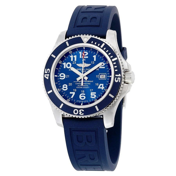 Breitling Men's A17392D8-C910-158S 'Superocean II 44' Automatic Blue Rubber Watch