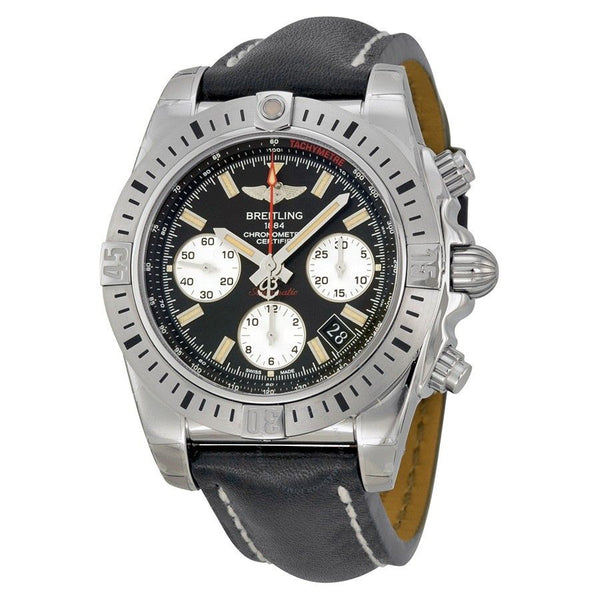Breitling Men's AB01442J-BD26LS 'Chronomat 41 Airborne' Chronograph Automatic Black Leather Watch
