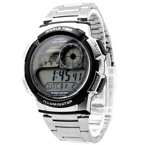 Casio Men's AE-1000WD-1AV 'Classic' World Time Digital Stainless Steel Watch