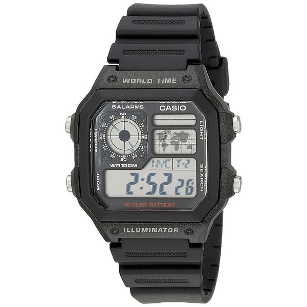 Casio Men's AE-1200WH-1AV World Time Digital Black Stainless Steel Watch