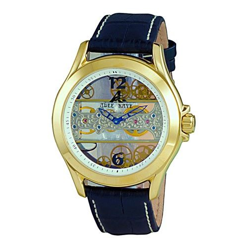 Adee Kaye  Men's AK7142-MG-WT 'Treasure' Blue Leather Watch