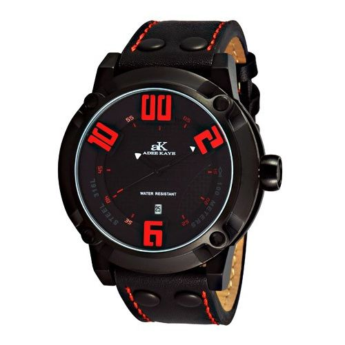 Adee Kaye  Men's AK7281-MIPB-RD 'Blitz' Black Leather Watch