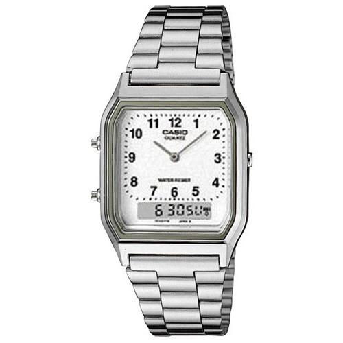 Casio Men's AQ-230A-7B 'Classic' Analog-Digital Stainless Steel Watch