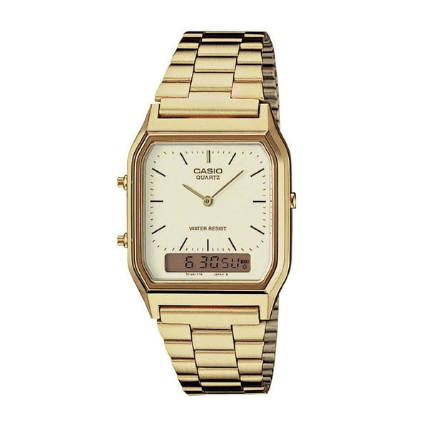 Casio Men's AQ-230GA-9D 'Ana-Digi' Analog-Digital Gold-Tone Stainless Steel Watch