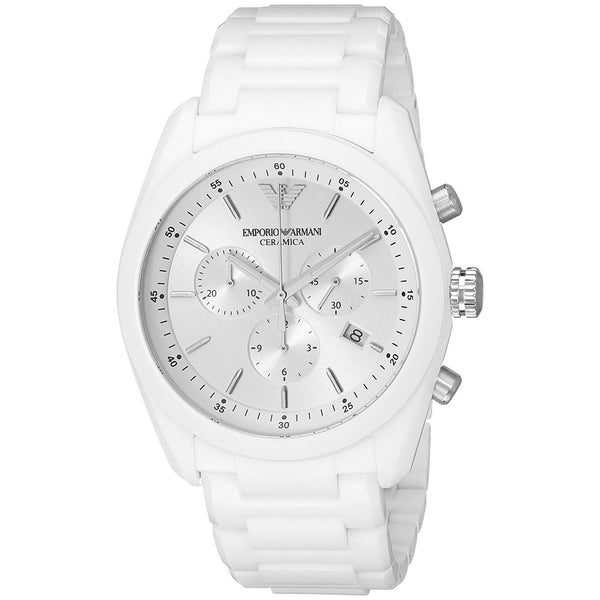 Emporio Armani Men's AR1493 'Ceramica' Chronograph White Ceramic Watch