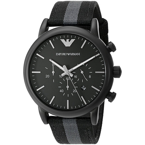 Emporio Armani Men's AR1948 'Dress' Chronograph Grey and Black Nylon Watch