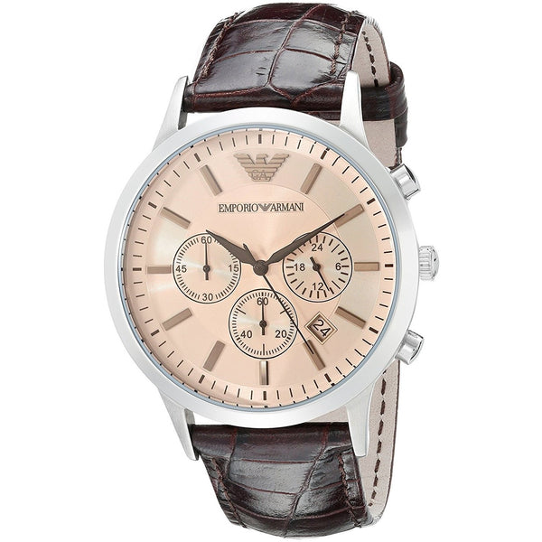 Emporio Armani Men's AR2433 'Classic' Chronograph Brown Leather Watch