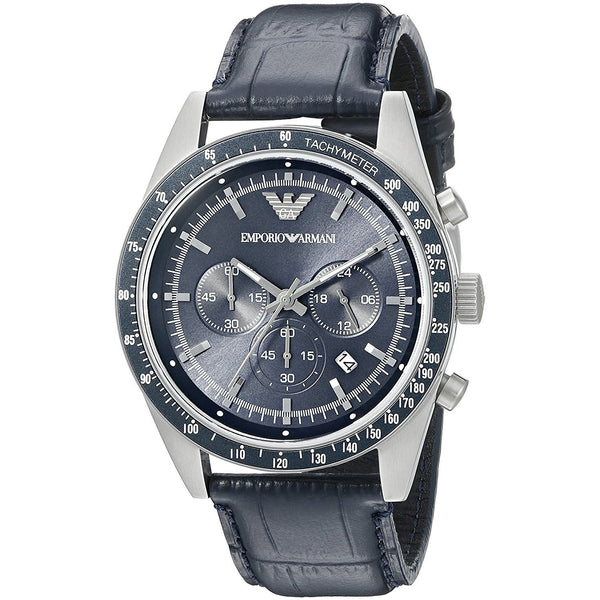 Emporio Armani Men's AR6089 'Sport' Chronograph Blue Leather Watch