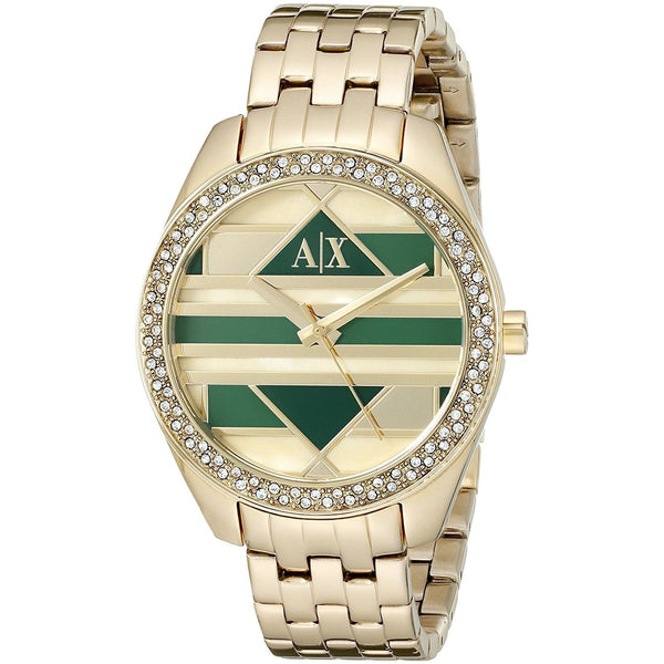 Armani Exchange Women's AX5527 'Sarena' Crystal Gold-Tone Stainless Steel Watch
