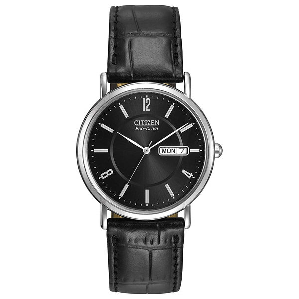 Citizen Men's BM8240-03E 'Eco-Drive' Black Leather Watch