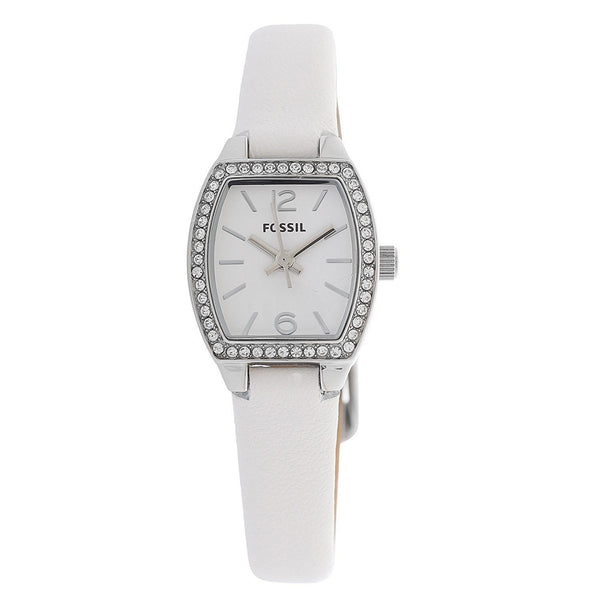 Fossil Women's BQ1211 'Classic' Crystal White Leather Watch