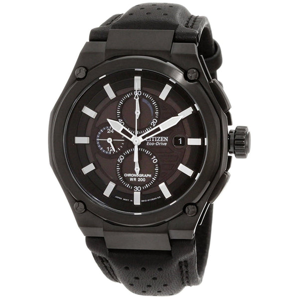 Citizen Men's CA0315-01E 'Sport' Chronograph Black Leather Watch