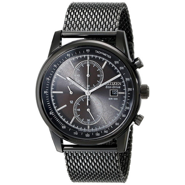 Citizen Men's CA0338-57E 'Eco-Drive' Chronograph Black Stainless Steel Watch