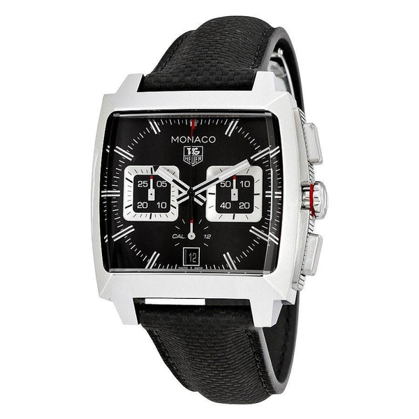 Tag Heuer Men's CAL2113.FC6536 'Monaco' Chronograph Black Leather Watch