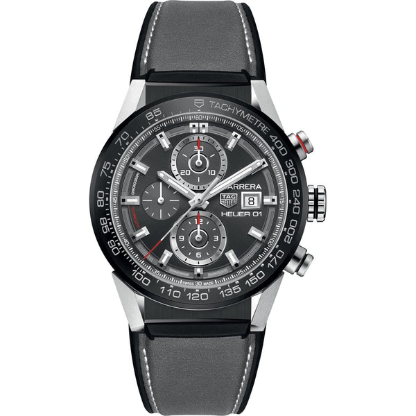 Tag Heuer Men's CAR201W.FT6095 'Carrera' Chronograph Black Rubber Watch
