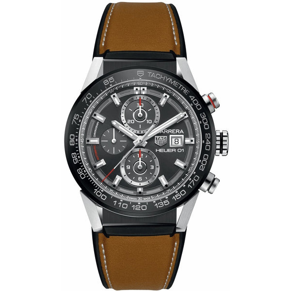 Tag Heuer Men's CAR201W.FT6122 'Carrera' Chronograph Brown Leather with Rubber  Watch