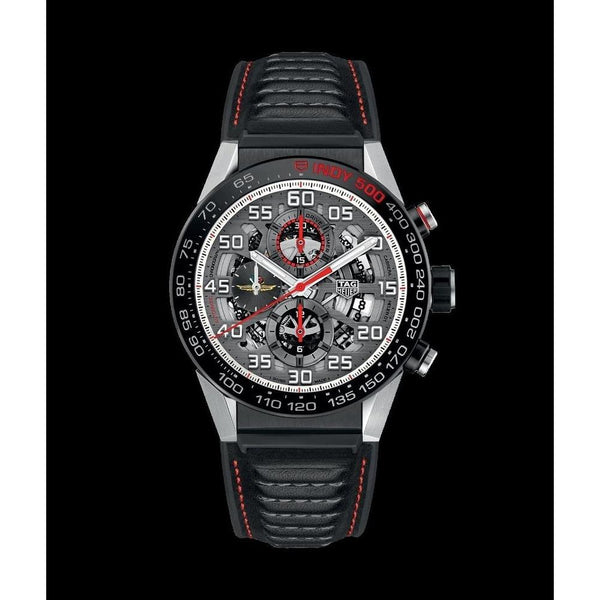 Tag Heuer Men's CAR2A1D.FT6101 'Carrera Indy 500 Limited Edition' Chronograph Black Leather and Rubber Watch