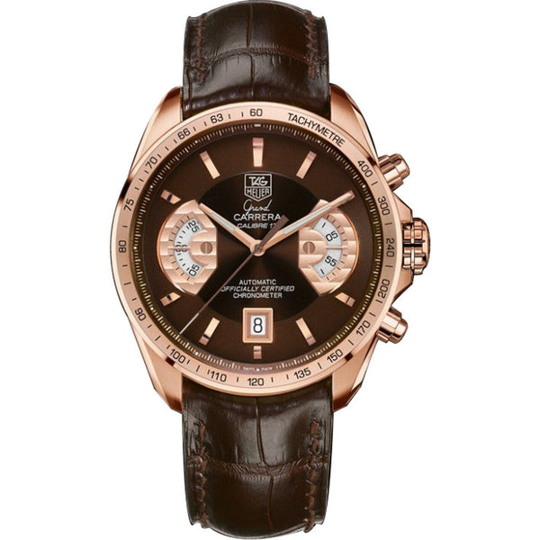 Tag Heuer Men's CAV514C.FC8171 'Grand Carrera' Chronograph Brown Leather Watch