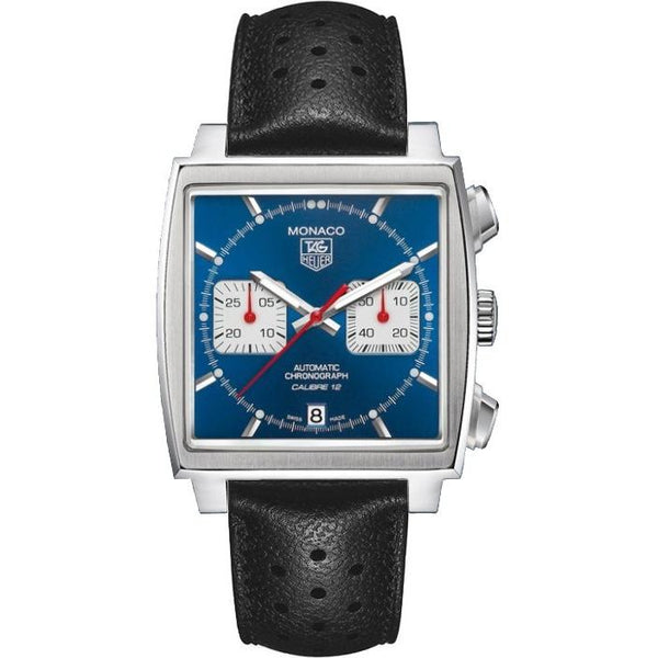 Tag Heuer Men's CAW2111.FC6356 'Monaco' Chronograph Black Leather Watch