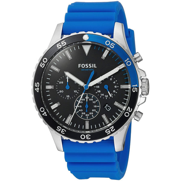 Fossil Men's CH3055 'Crewmaster Sport' Chronograph Blue Silicone Watch