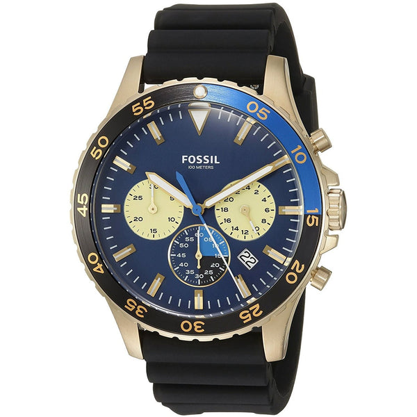 Fossil Men's CH3074 'Crewmaster Sport' Chronograph Black Silicone Watch