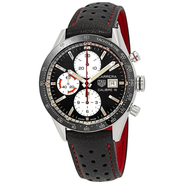 Tag Heuer Men's CV201AP.FC6429 'Carrera' Chronograph Black Leather Watch