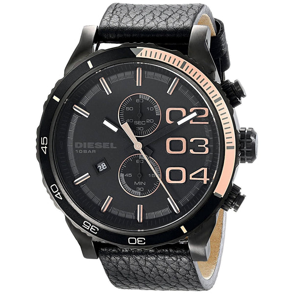 Diesel Men's DZ4327 'Double down' Chronograph Black Leather Watch