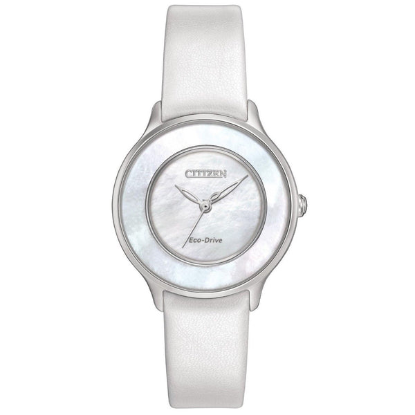 Citizen Women's EM0381-03D 'Circle of Time' White Leather Watch