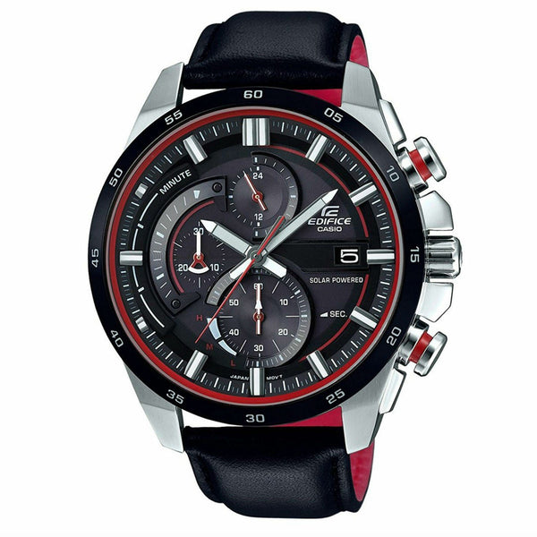 Casio Men's EQS600BL-1A 'Edifice' Chronograph Black Leather Watch