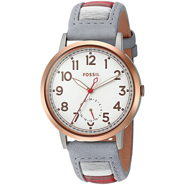 Fossil Women's ES4059 'Everyday Muse' Multi-Function Striped Grey Leather Watch