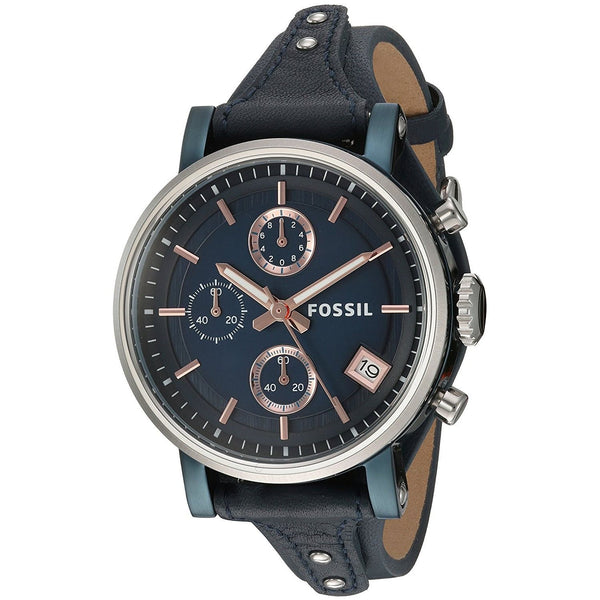 Fossil Women's ES4113 'Original Boyfriend' Chronograph Blue Leather Watch