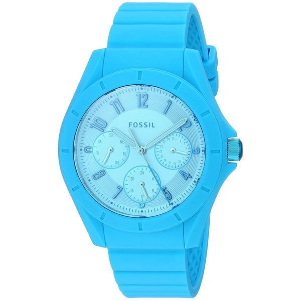 Fossil Women's ES4189 'Poptastic Sport' Multi-Function Blue Silicone Watch
