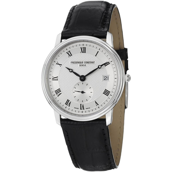 Frederique Constant Men's FC-245M4S6 'Slimline' Black Leather Watch