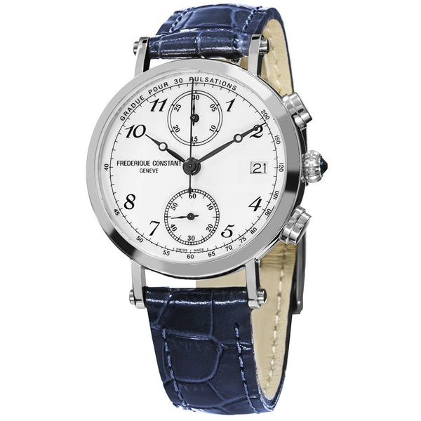 Frederique Constant Women's FC-291A2R6 'Classic' Chronograph Blue Leather Watch