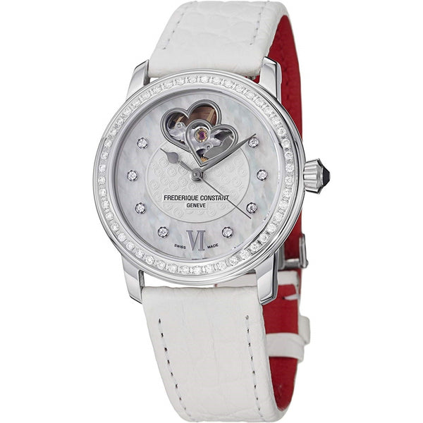 Frederique Constant Women's FC-310WHF2PD6 'Heart Cut-Out' White Leather Watch