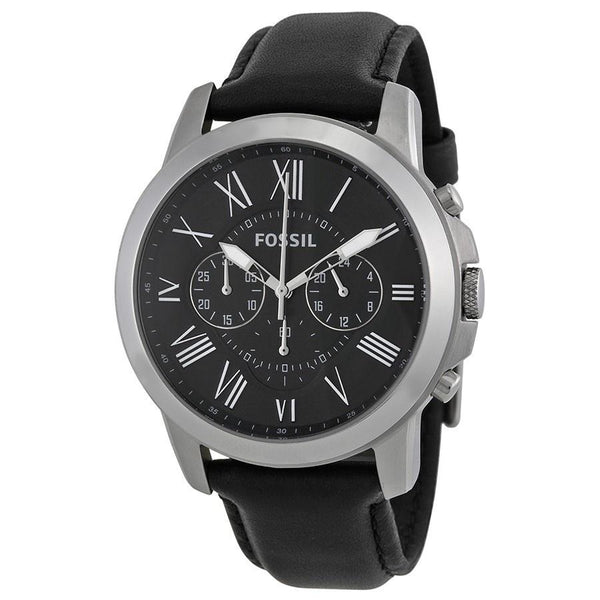 Fossil Men's FS4812 'Grant' Chronograph Black Leather Watch