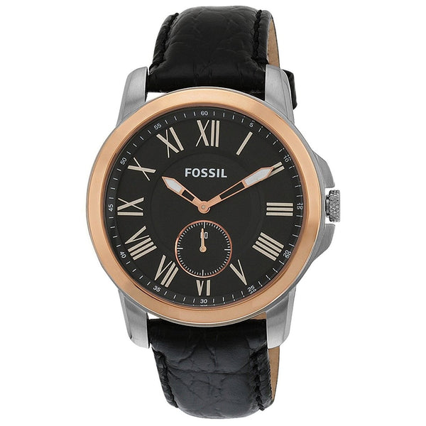 Fossil Men's FS4943 'Grant' Black Leather Watch