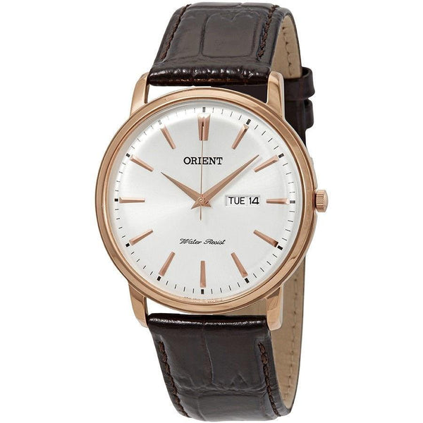 Orient Men's FUG1R005W6 'Capital White' Brown Leather Watch