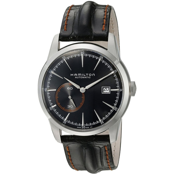 Hamilton Men's H40515731 'Railroad' Black Leather Watch