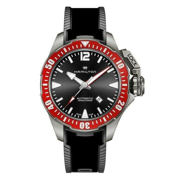Hamilton Men's H77805335 'Khaki Navy Frogman' Black Silicone Watch