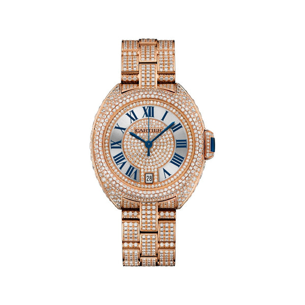 Cartier Women's HPI01040 'Cle De Cartier' Diamond Rose Gold-Tone Stainless Steel with Set of Diamonds Watch