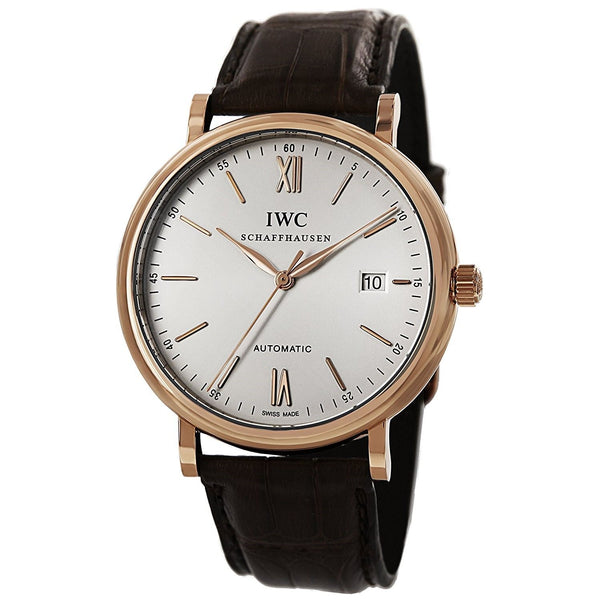 IWC Men's IW356504 'Portofino' Automatic Brown Leather Watch