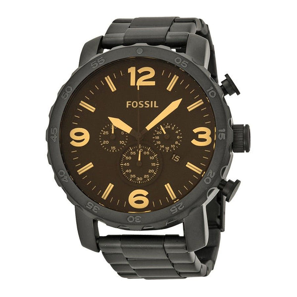 Fossil Men's JR1356 'Nate' Chronograph Black Stainless Steel Watch