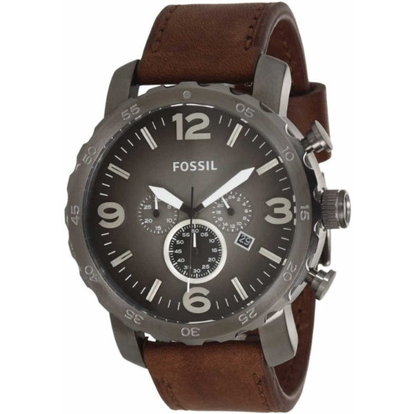 Fossil Men's JR1424 'Nate' Chronograph Brown Leather Watch