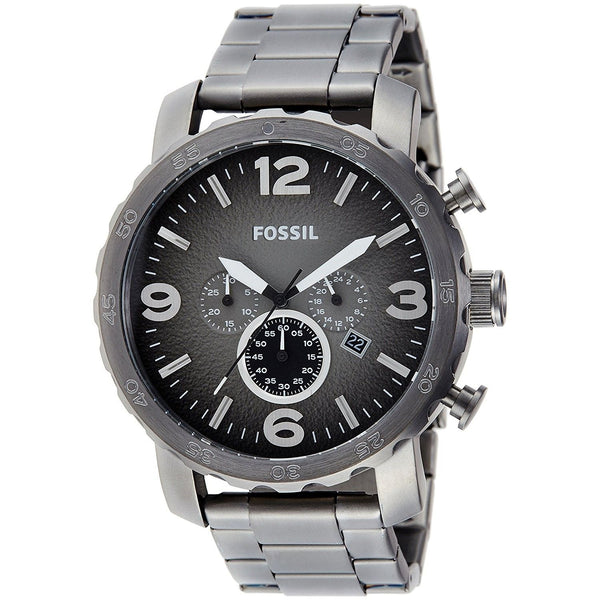 Fossil Men's JR1437 'Nate' Chronograph Black Stainless Steel Watch