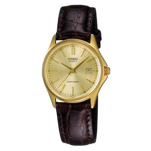 Casio Women's LTP-1183Q-9A 'Dress' Brown Leather Watch