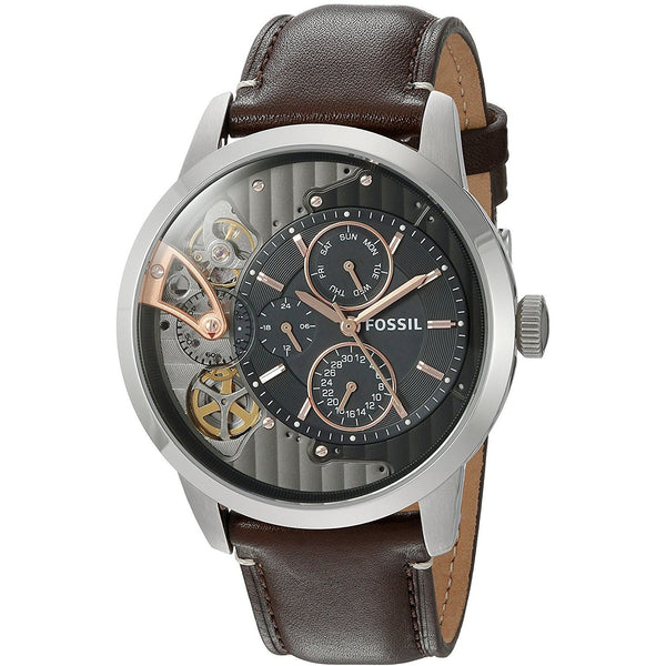 Fossil Men's ME1163 'Townsman Mechanical Twist' Multi-Function Brown Leather Watch